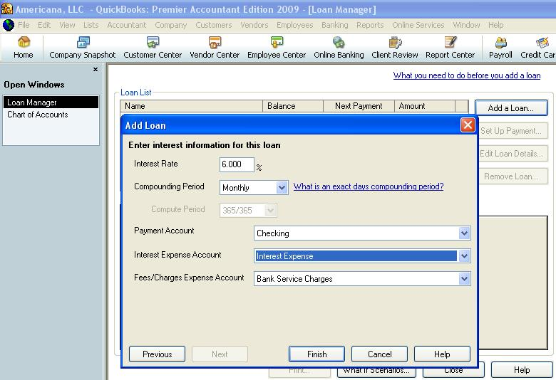QuickBooks loan manager interest information