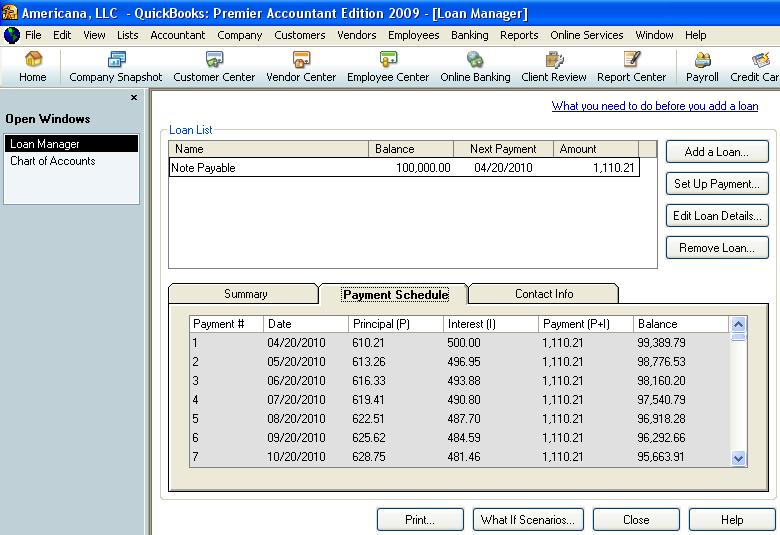 QuickBooks loan manager payment schedule