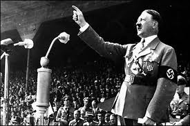 Adolf Hitler spewing propaganda to the German public