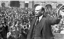 Lenin speaking to a crowd in Red Square