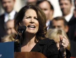 Michele Bachmann giving a speech to the American public