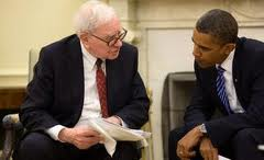 Warren Buffett with President Barack Obama