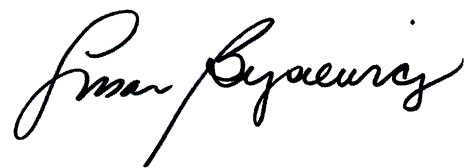 susan bysiewicz's signature