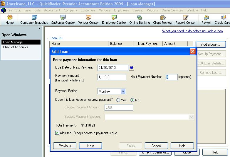 QuickBooks loan manager loan payment information