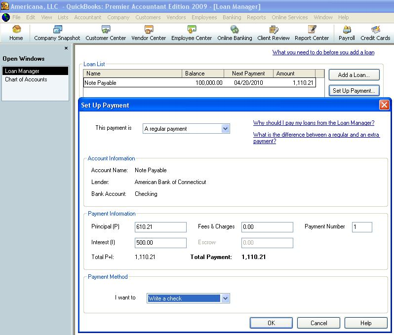 QuickBooks loan manager set up payment
